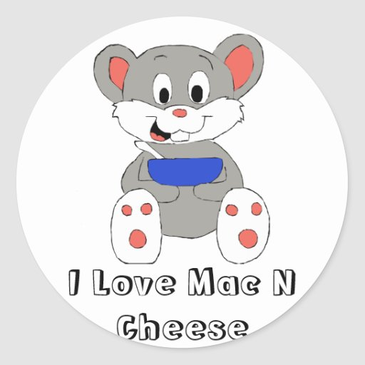 Cute Cartoon Mouse Round Stickers