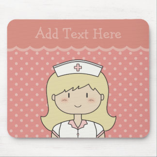 Cute cartoon nurse (blonde) PINK Mouse Pad