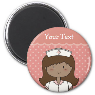 Cute cartoon nurse (brunette) 2 inch round magnet