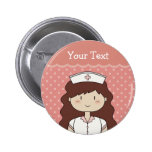 Cute cartoon nurse (brunette) buttons