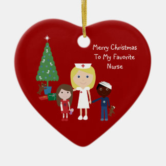 Cute Cartoon Nurse, Children & Christmas Tree Ceramic Ornament
