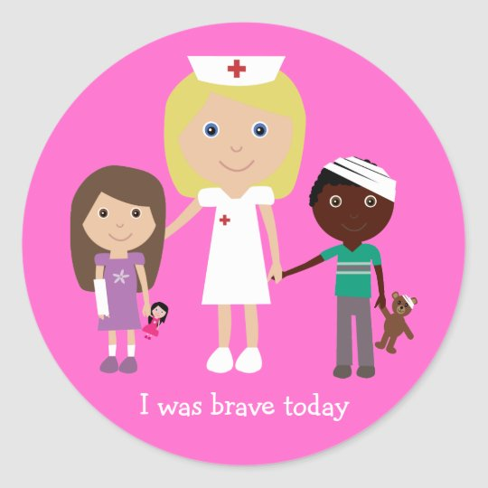 Cute Cartoon Nurse & Children I Was Brave Today Classic Round Sticker