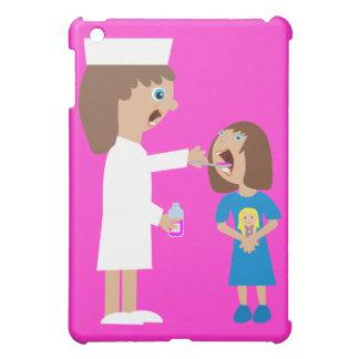 Cute Cartoon Nurse Giving Child Medicine iPad Mini Cover