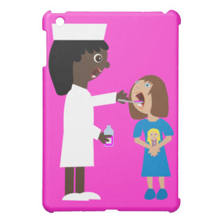 Cute Cartoon Nurse Giving Child Medicine iPad Mini Covers