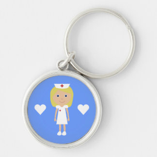 Cute Cartoon Nurse & Hearts Customizable Silver-Colored Round Keychain