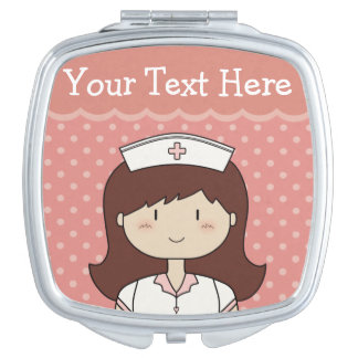 Cute Cartoon Nurse with Custom Text Makeup Mirrors