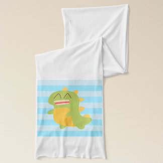 Cute cartoon of green and yellow Dino Scarf