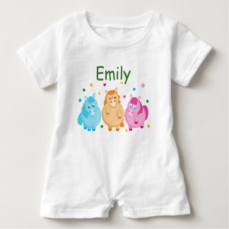 Cute cartoon of little colorful ponies, baby romper