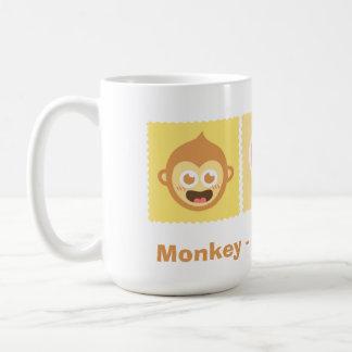 Cute Cartoon of Monkey - Love - Banana Basic White Mug