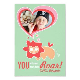 "Cute Cartoon Orange Lion Classroom Valentine Photo 3.5"" X 5"" Invitation Card"