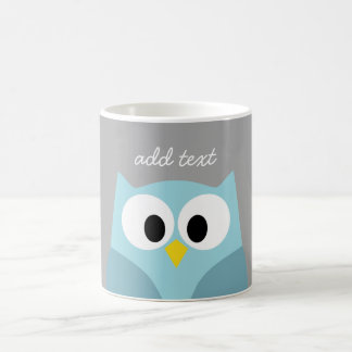 Cute Cartoon Owl - Blue and Gray Custom Name Classic White Coffee Mug