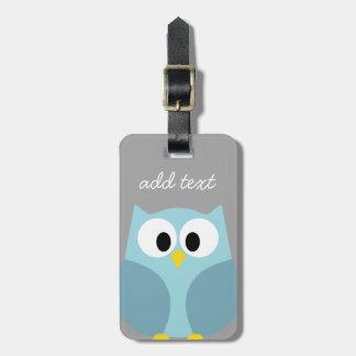 Cute Cartoon Owl - Blue and Gray Custom Name Luggage Tag