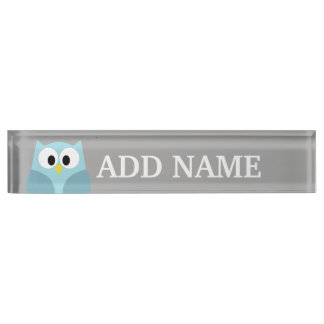 Cute Cartoon Owl - Blue and Gray Custom Name Nameplate