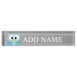 Cute Cartoon Owl - Blue and Gray Custom Name Nameplate