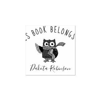 Cute Cartoon Owl Custom Name This Book Belongs To Rubber Stamp