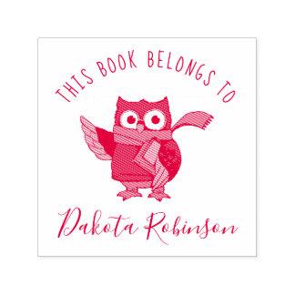 Cute Cartoon Owl Custom Name This Book Belongs To Self-inking Stamp