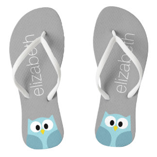 Cute Cartoon Owl in Blue and Gray Flip Flops