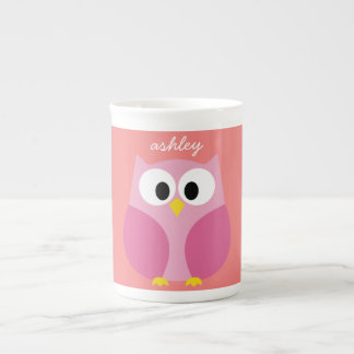 Cute Cartoon Owl in Pink and Coral Porcelain Mugs