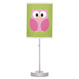Cute Cartoon Owl in Pink and Lime Table Lamp