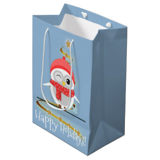 Cute Cartoon Owl in Red Hat and Scarf Medium Gift Bag