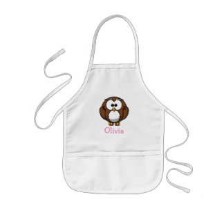 Cute cartoon owl personalized with childs name kids' apron