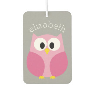 Cute Cartoon Owl - Pink and Gray Custom Name Air Freshener
