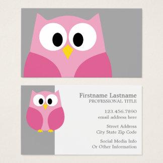 Cute Cartoon Owl - Pink and Gray Custom Name Business Card