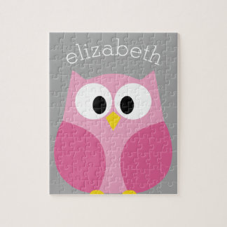 Cute Cartoon Owl - Pink and Gray Custom Name Jigsaw Puzzle