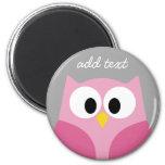 Cute Cartoon Owl - Pink and Gray Custom Name Refrigerator Magnet