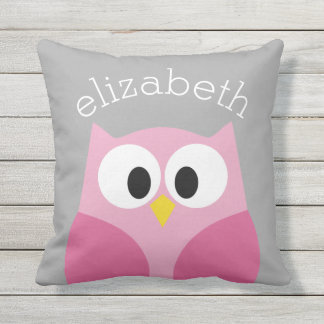 Cute Cartoon Owl - Pink and Gray Custom Name Outdoor Pillow