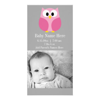 Cute Cartoon Owl - Pink and Gray Custom Name Photo Greeting Card