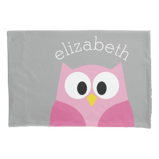 Cute Cartoon Owl - Pink and Gray Custom Name Pillowcase
