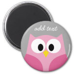 Cute Cartoon Owl - Pink and Grey Custom Name 2 Inch Round Magnet