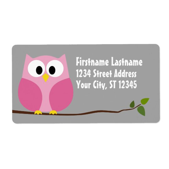 Cute Cartoon Owl - Pink and Grey Custom Name Shipping Label