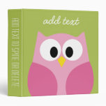 Cute Cartoon Owl - Pink and Lime Green Binder