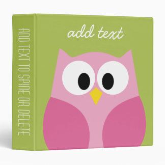 Cute Cartoon Owl - Pink and Lime Green Vinyl Binder