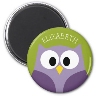 Cute Cartoon Owl Purple and Pistachio Custom Name 2 Inch Round Magnet