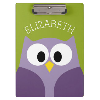 Cute Cartoon Owl Purple and Pistachio Custom Name Clipboard