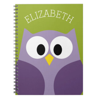 Cute Cartoon Owl Purple and Pistachio Custom Name Notebook