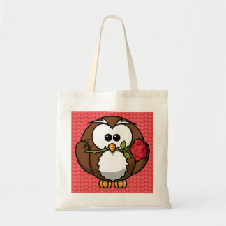 Cute Cartoon Owl With Rose and Hearts Canvas Bag