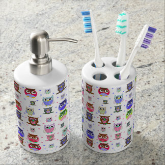Cute Cartoon Owls Bathroom Sink Set Bath Accessory Set