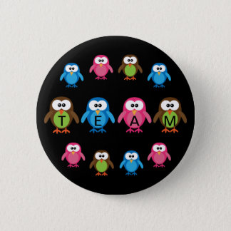 Cute Cartoon Owls Customizable Team 2 Inch Round Button