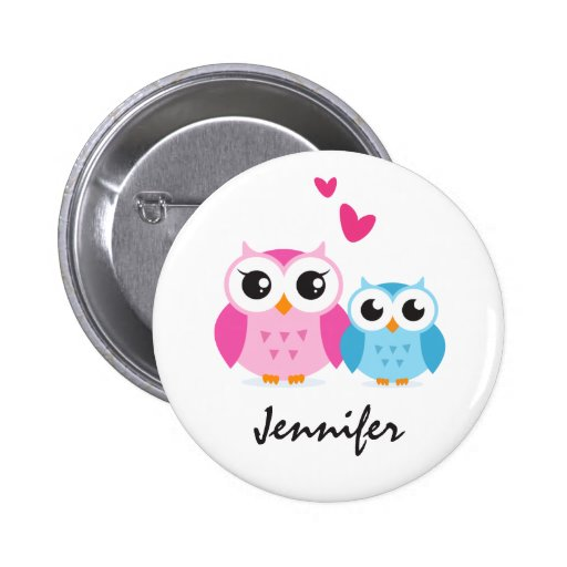 Cute cartoon owls with hearts personalized name buttons