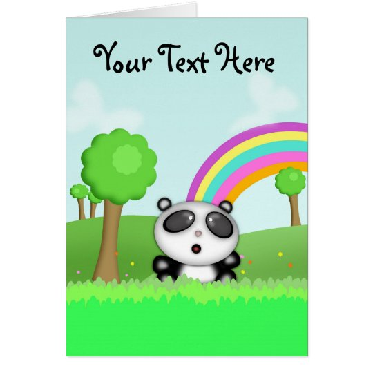 Cute Cartoon Panda Bear Short Story Card