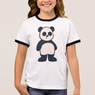 Cute Cartoon Panda Girl's Ringer T-Shirt