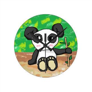 cute cartoon panda round clock