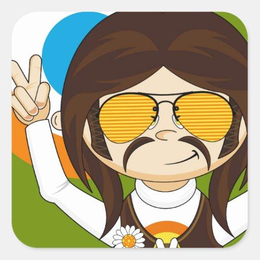 Cute Cartoon Peace Hippie Square Stickers