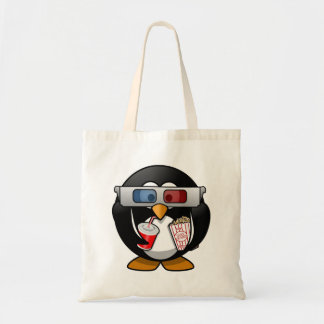 Cute Cartoon Penguin at the Movies Tote Bags