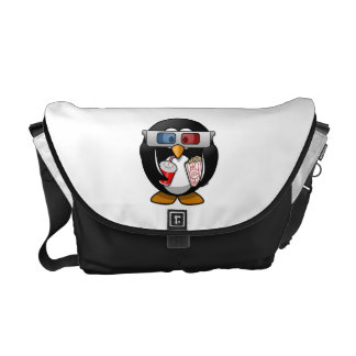 Cute Cartoon Penguin at the Movies Messenger Bags