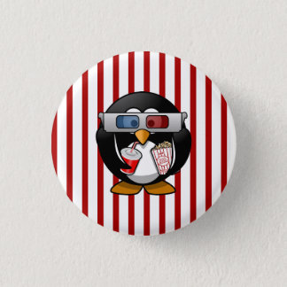 Cute Cartoon Penguin at the Movies With Stripes 1 Inch Round Button